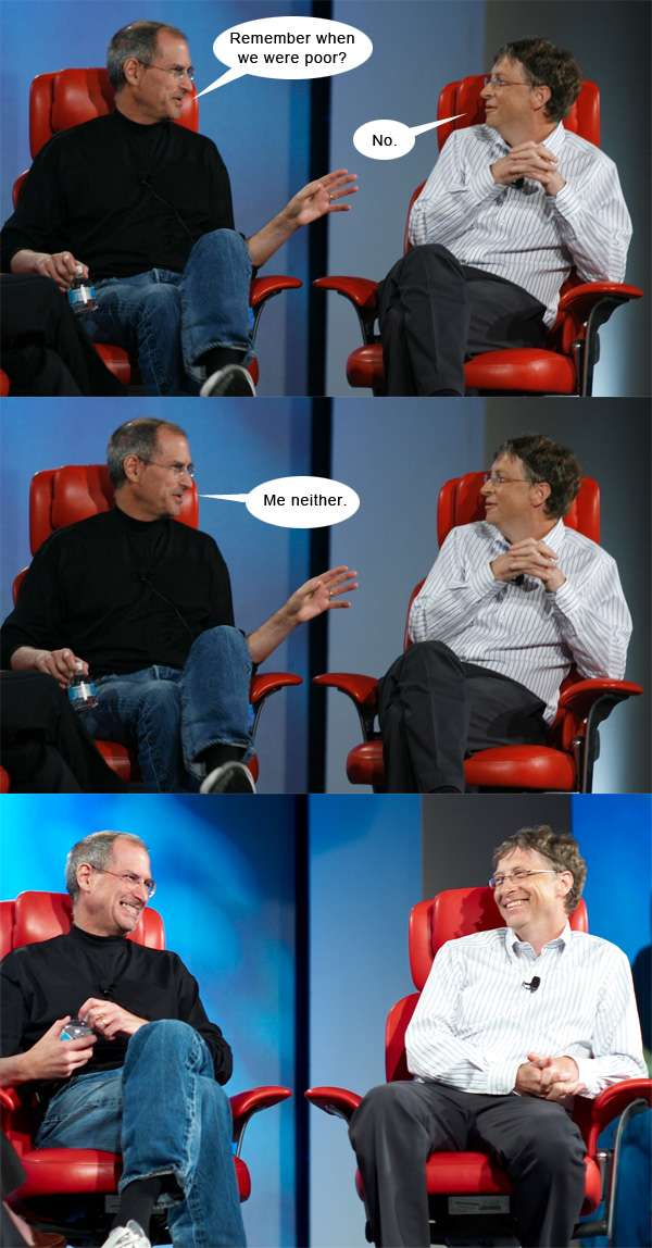 Nerd wins. steve-jobs-and-bill-gates-chat . source: http://Johns-Jokes.com